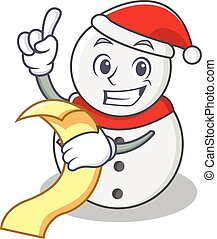 With menu snowman character cartoon style