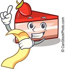With menu strawberry cake mascot cartoon