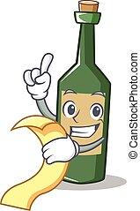 With menu wine bottle character cartoon