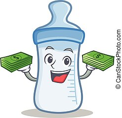 With money baby bottle character cartoon