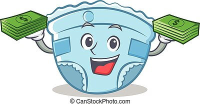 With money baby diaper character cartoon