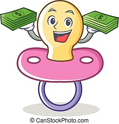 With money baby pacifier character cartoon