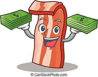 With money bacon mascot cartoon style vector illustration
