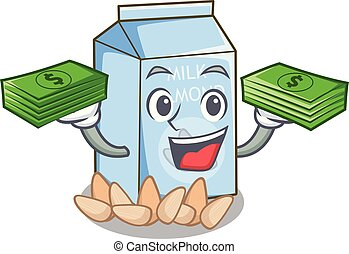 With money bag almond milk in the cartoon bottle
