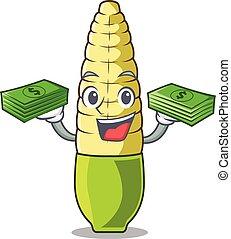 With money bag baby corn cartoon in the fridge