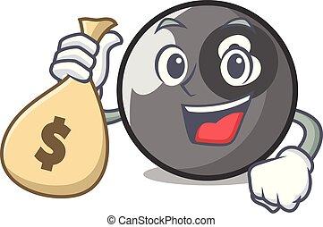 With money bag billiard ball character cartoon