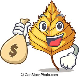 With money bag birch leaf in the mascot shape vector...