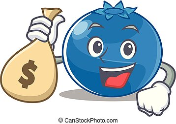 With money bag blueberry character cartoon style