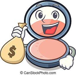 With money bag blush on a cartoon makeup bag