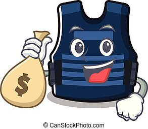 With money bag bulletprof vest isolated in the mascot