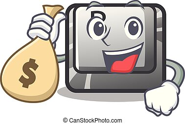 With money bag button B installed on cartoon computer