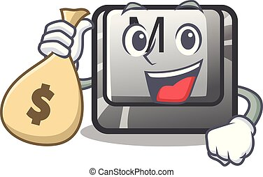With money bag button M on a keyboard mascot