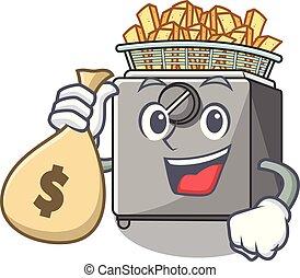 With money bag cartoon deep fryer in the kitchen vector...