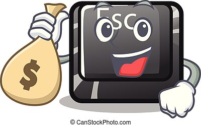 With money bag cartoon esc button attached to computer