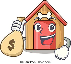 With money bag cartoon funny dog house with dish
