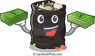With money bag cartoon garbage bag next to table vector illustration