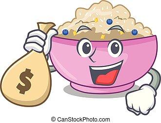 With money bag character a bowl of oatmeal porridge