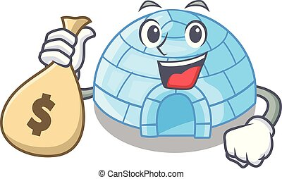 With money bag character cartoon ice house in snowfield