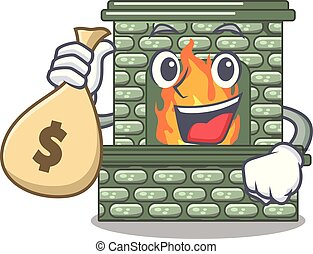 With money bag character fireplace with red brick inside