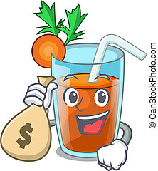 With money bag character healthy carrot smoothie for diet
