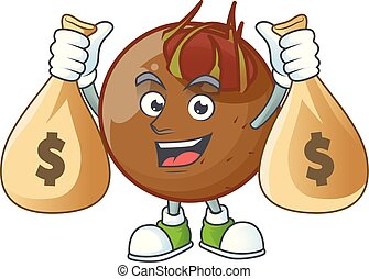 With money bag character medlar fresh for design cartoon