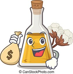 With money bag cottonseed oil in a mascot bottle vector ...