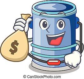 With money bag cylinder bucket Cartoon of for liquid