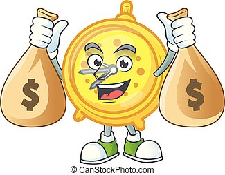With money bag design alarm clock in cartoon character