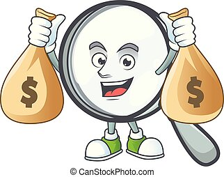 With money bag design magnifying glass cartoon character style.