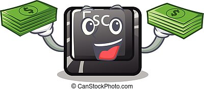 With money bag esc button attached to cartoon keyboard