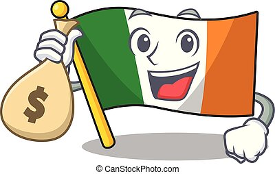 With money bag flag ireland isolated with the cartoon vector...