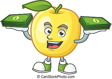 With money bag golden apple cartoon character for design