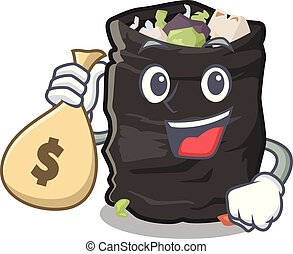 With money bag grabage bag isolated with the mascot vector illustration