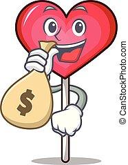 With money bag heart lollipop character cartoon vector ...