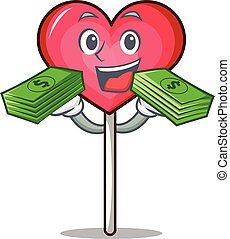With money bag heart lollipop mascot cartoon vector ...