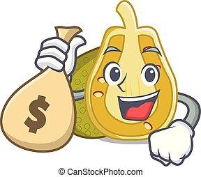 With money bag jackfruit character cartoon style vector...