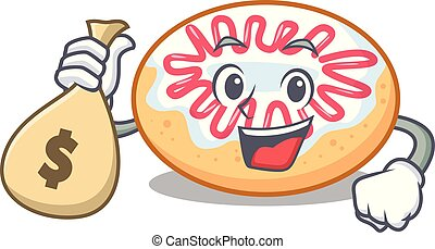 With money bag jelly donut character cartoon vector...