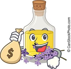 With money bag lavender oil in a cartoon bottle