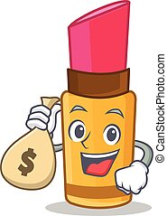 With money bag lipstick character cartoon style