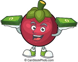 With money bag mangosteen fruit cartoon character isolated on mascot