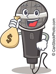 With money bag microphone cartoon character design