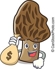 With money bag morel mushroom character cartoon
