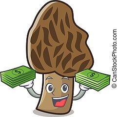 With money bag morel mushroom mascot cartoon