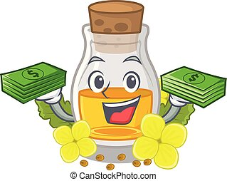 With money bag mustard oil wrapped in mascot box vector ...
