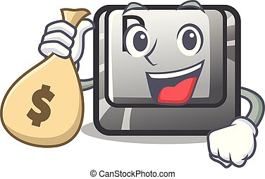 With money bag P button installed on cartoon computer