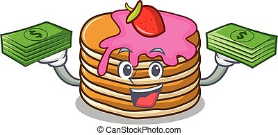 With money bag pancake with strawberry mascot cartoon