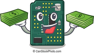 With money bag PCB circuit board in PC characters vector...