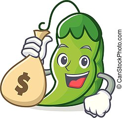 With money bag peas character cartoon style