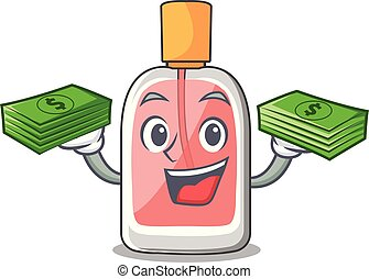 With money bag perfume bottle on the character table vector...