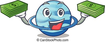 With money bag planet uranus in the cartoon form vector...